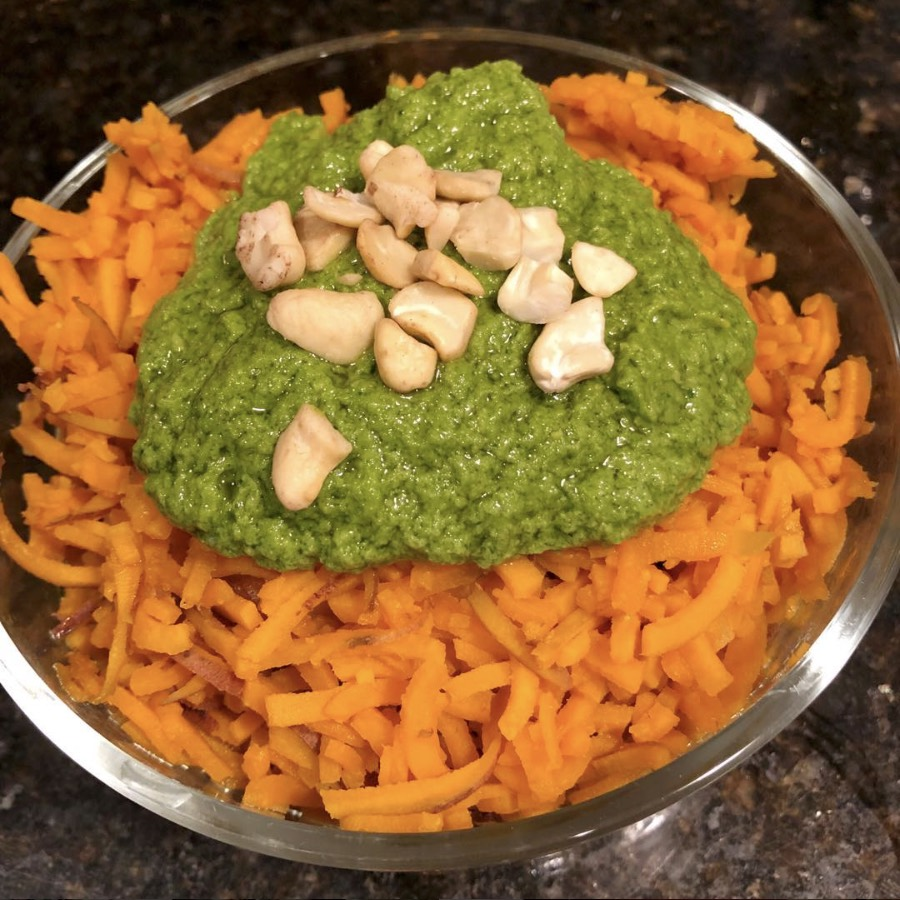 sweet potato noodles with pesto using a spiralizer